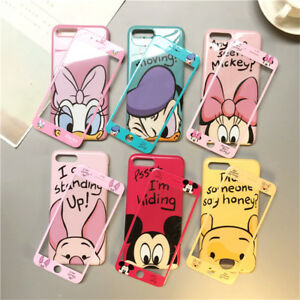 Set Cartoon Mouse Duck Case for iPhone 12 Pro Max 11 Xs 8 Full Cover +Glass Film