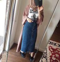 High Waist Button Down Long Pencil Skirt Denim Women's Jeans Skirt Bodycon Front