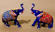 Pair Of Lucky Elephant Statue Hand Made Meena Painting