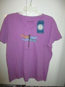 NWT LIFE IS GOOD PURPLE SHORT SLEEVE DRAGONFLY CRUSHER TEE SIZE L