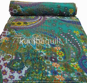 Green Kantha Quilt Paisley Gudri Handmade Twin Bedspreads Throw Ralli