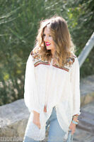 ZARA EMBROIDERED TUNIC BLOUSE TOP SS16 OFF WHITE Ref.7200/222 S,M BLOGGERS