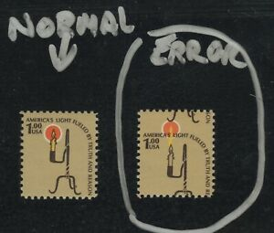 #1610 Error vs.Normal $1 Rush Lamp & Candle Holder stamp1979 Mint Never Hinged