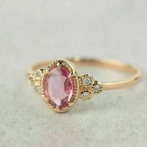 2Ct Oval Cut Pink Tourmaline Diamond Solitaire Engagement Ring 14K Rose Gold FN