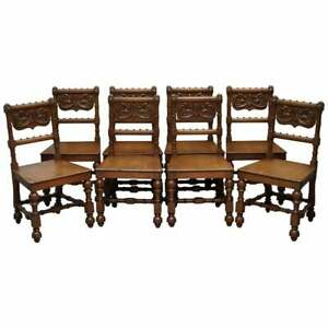 EIGHT HAND CARVED WALNUT GOTHIC REVIVAL DINING CHAIRS CIRCA 1840 STUNNING FRAMES