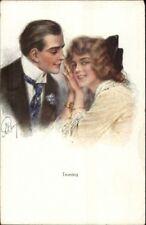 Resy? - Beautiful Young Woman - Man in Nice Tie - TEASING c1910 Postcard