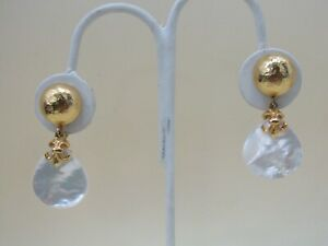 Hammered Gold Plated Fleur de Lis Mother of Pearl Tear Drop Clip-On Earrings