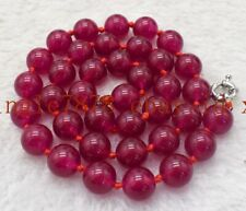 Natural Huge 12mm Rose Ruby Round Gemstone Necklace 20'' AAA