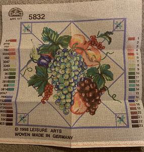 Vintage 1998 DMC 5832 Leisure Arts - Fruit Tile - Needlepoint Canvas