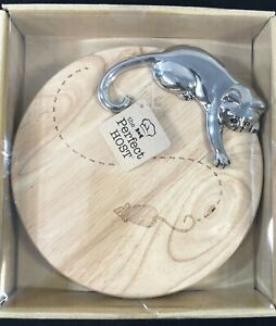Wood Cheese Board with Engraved Mouse and Metal Cat THE PERFECT HOST Gift