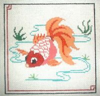 MZC Oriental Gold Fish HP Hand Painted Needlepoint Canvas