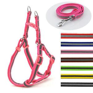 Reflective Nylon Dog Harness and Lead Leash New UK Pet Cat Soft