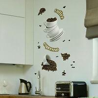 Wandsticker Wandtattoo Coffee Espresso Kaffee Tasse Teller Aufkleber Küche