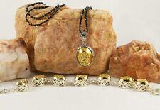 """Golden Drusy Quartz Bracelet & Pendant w/Black Spinel 20"""" Necklace TCW 100.79"""