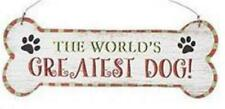 """The World's Greatest Dog Wood 8.5"""" Decorative Wall Sign Wire Hanger"""