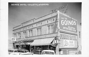 H64/ Gillette Wyoming RPPC Postcard RPPC 1969 Goings Hotel Building
