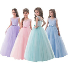 Flower Girl Kids Pageant Party Long Lace Wedding Birthday Prom Gown Formal Dress