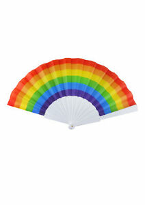 Pride Rainbow Folding Fan Hand Held Parade Fancy Dress Costume Accessory Gift UK
