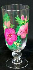 Hand Painted Floral Tropical Goblet Drinking Glass Bar-Ware OOAK Cocktail Frozen