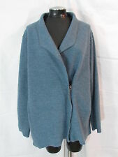Eileen Fisher 1X Jacket Asymmetrical Top 100% Merino Wool Zippered Jacket