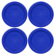 """Pyrex 4"""" Cobalt Blue Lid Replacement Storage Cover 4 Pack For 1 Cup Bowl 7202-PC"""