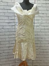 80-90s Vintage Ivory Satin Wedding Races Prom Ball Party Dress Size S
