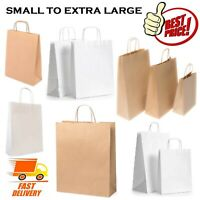 SMALL TO EXTRA LARGE BROWN WHITE PAPER CARRIER GIFT SWEET LOOT BAGS WITH HANDLES