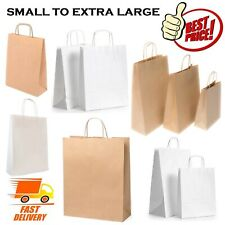 More details for small to extra large brown white paper carrier gift sweet loot bags with handles