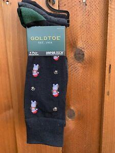 Gold Toe Men's Socks Black Dress Crew Socks Holiday Christmas Dog 4-Pair Pack