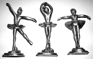 RARE - (3) PEWTER METAL BALLET DANCERS FIGURINES - WONDERFUL CONDITION