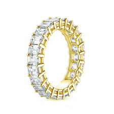 2.40 Ct Emerald Cut Diamond Engagement 14K Solid Yellow Gold Eternity Bands