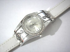 Silver Tone Metal White Leather Baby Phat Ladies Watch w Crystals Item 5441