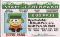KYLE of SOUTH PARK novelty plastic collectors card Drivers License