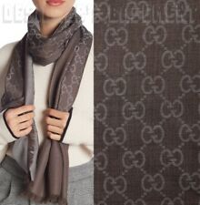 """GUCCI wool silk 2-tone brown & gray GG scarf PASHMINA 18x70"""" NWT Authentic $350!"""
