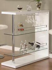 Bar Table with Two Shelves and Wind Holder in Gloss White by Coaster 100167