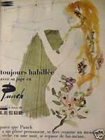 PUBLICITÉ 1957 JUPE PUNCH DRALON LAINE LESUR PLISSÉ PERMANENT SÈCHE EN UNE NUIT