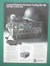 2/1975 PUB HARRIS EMETTEUR RECEPTEUR TACTIQUE RF-280 HF-BLU / VHF FM FRENCH AD