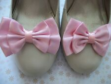 PAIR PALE PINK SATIN BOW SHOE CLIPS 40s 50s VINTAGE STYLE GLAMOUR BOWS HANDMADE