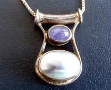 ITALY-STERLING-NECKLACE-CHAIN&PENDANT W/SEMI-PRECIOUS STONES- 925-8gr S-17