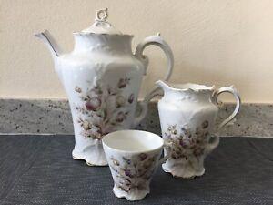 Jugendstil Porzellan Kaffee-Service: Kaffee- Milchkanne Tasse