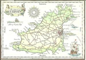 THE ISLAND OF GUERNSEY, CHANNEL ISLANDS (COLOUR PRINTED MAP POSTCARD)