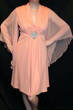M Vtg 60s Chiffon Angel Wing Peach Deep-V Empire Beaded Rhinestone Party Dress