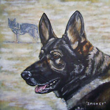 """CUSTOM DOG PORTRAIT PAINTING by artist BETS 30"""" X 30"""" Your Beloved Dog On Canvas"""