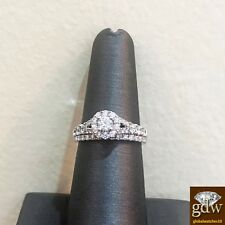 Real 14k White Gold and Diamond Wedding/Engagement Ring with Bands, Bridal, New.