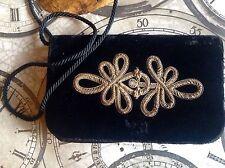 Vintage Wire work GOLD Black Velvet Evening Slim Bag Embroidered Metal Thread