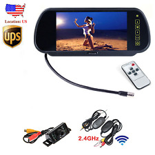 "Wireless 7"" TFT LCD Car Rear View Monitor+Reverse Backup Parking 7LED Camera USA"