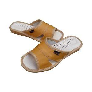 Women's Slippers Soft Leather Sliders Slip On Size 3-8 Mules Flats House Shoe UK