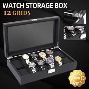 ❤️ High-Grade12 Grids Watch Box Carbon Fiber Gift Storage Case Display Organizer