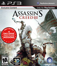 ASSASSIN'S CREED III (SONY PLAYSTATION 3, 2012) DISC IS MINT!!! LQQK!!!