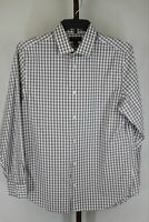 Banana Republic Mens Grey Long Sleeve Plaid Button Front Slim Fit Shirt Size 16